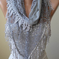 Autumn Scarf- Grey Scarf with Lace Trim Edge Edge - Cotton and Lace Fabric