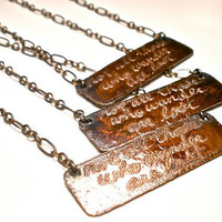 Not All Those Who Wander Are Lost Necklace in Etched Copper