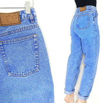 """Vintage 80s High Waist Acid Wash Tapered Leg Mom Jeans - Women's Blue Limited Jeans Relaxed Denim - Size 10 29"""" Waist"""