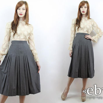Vintage 80s Grey High Waisted Pleated Wool Skirt S M High Waisted Skirt Grey Midi Skirt Grey Wool Skirt High Waist Skirt Pleated Midi Skirt