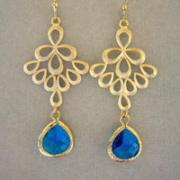 Capri Blue And Gold Peacock Earring.. on Luulla