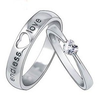 Customized Engravable Endless Love Matching Heart Wedding Couple Ring
