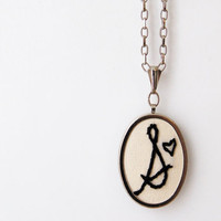 Initial Necklace. Embroidered Initial and Heart For Mommy to Be, Mom, Aunt. Customizable by Merriweather Council on Etsy.