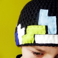 Crochet Black OldSchool Gamer Upcycled Beanie for by bitteroclock