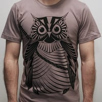 Samurai Owl - Organic Cotton Mens tshirt / Unisex tshirt  printed with ECO ink ( Owl tshirt )
