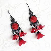 Red and Black Gothic Earrings, Victorian Earrings, Red Flower Earrings, Black Brass Chandelier Earrings, Victorian Jewelry, Gothic Jewelry
