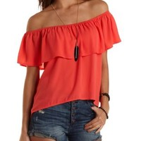 Off-the-Shoulder Flounce Top by Charlotte Russe - Peach Bud