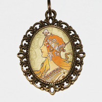 Princess Necklace, Art Nouveau Jewelry, Alphonse Mucha, Oval Pendant