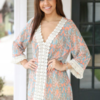 Waves Dress - Coral and Mint