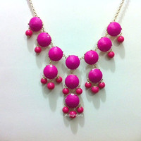 Free Necklace W/ Purchase, Bubble Necklace, Fuschia Bubble Necklace, J Crew Inspired, Fuchsia,