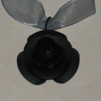 Black Rose Pendant and Light Blue Organza Ribbon Necklace or Choker