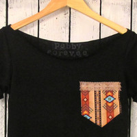 FREE SHIPPING, Tribal Black Off Shoulder, Aztec, Tribal ,Navajo Inspired Tshirt (women, teen girl)