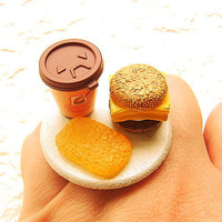 Kawaii Food Ring Coffee Egg Sandwich Hash by SouZouCreations