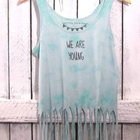 FREE SHIPPING- Hipster Mint Green Tie-Dye Fringe, We Are Young, Mint Tank Top, Sea Foam green Tank, (women, teen girls)