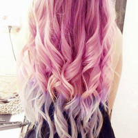 Ombre Dip Dye//Ciara Inspired Pink Purple and Blue Pastel Human Hair //Weft Clip In Extensions//Ready To Ship//20""