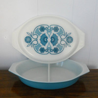 Vintage Pyrex Horizon Divided Casserole Dish by houseofheirlooms