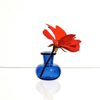Miniature Vase in Blue, Hand Blown Glass
