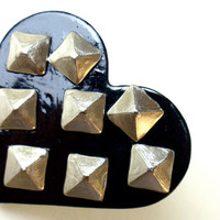 Studded Black Heart Ring/ Oversized Adjustable by dragonpop