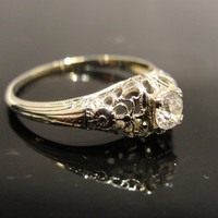 Antique Vintage 18 Karat White Gold FIligree 1920s Engagement or Cocktail Ring Old MIne Cut