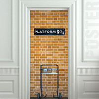 "Wall Door STICKER harry potter platform 9 3/4 mural decole film poster 31x79""(80x200cm)"