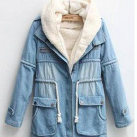 Hooded Warm Denim Outerwear S005082