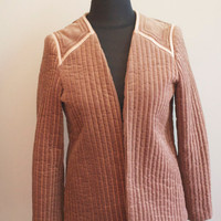 Cocoa Brown and Peach Quilted Jacket