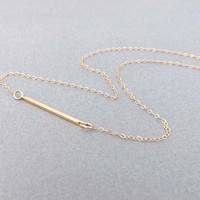 Gold Bar Necklace -14k Gold-Filled Chain-simple,delicate,everyday wear jewelry