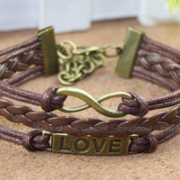 Love bracelet, infinity bracelet, karma bracelet, leather rope bracelet best gift for friends