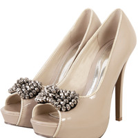Embellished Bow Front Patent Peep Toe High Heel Shoes-Nude