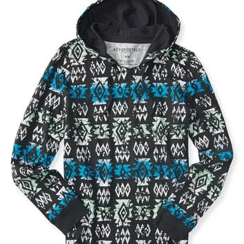 Aeropostale  Long Sleeve Tribal Hooded Pullover Tee