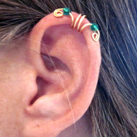 "No Piercing ""Crystal Double Up"" Ear Cuff Helix Cuff Handmade 1 Cuff Gold Tone Green Crystals or 16 COLOR CHOICES"