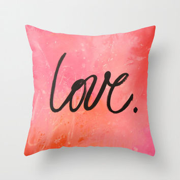 "Birthday gift ... Decorative throw pillows cover  ..from my original painting, ""Love.""...16"" x 16"""