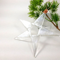 Fused Iridized  Glass Christmas Ornament Silver Star 180