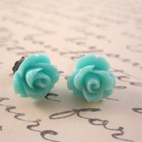 Emerald green rosette earrings - bright green roses on titanium studs - NICKEL FREE for sensitive ears