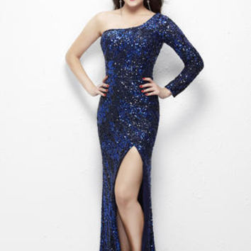 Stunning fully sequined one-sleeve gown featuring a high slit. Shown in Midnight, also available in Nude/Silver. #girligirlboutique