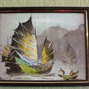 Unique and Elegant Signed, Oil Painted Oriental Print, Junk Boat Scene