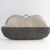 Sunglasses / Eyeglass Case -gray and natural linen