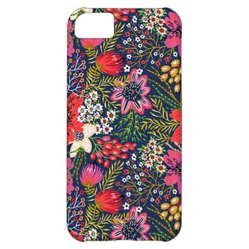 Vintage Bright Floral Pattern iPhone 5C Case