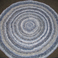 Custom Made Upcycled 6 Foot Denim Crochet Round Rug