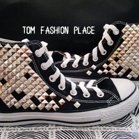 Canvas stud shoes personality fashion punk shoes studed shoes