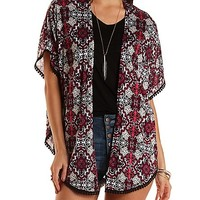 Pom-Pom Trim Printed Kimono Cardigan by Charlotte Russe - Red Combo