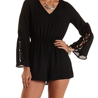 Crochet-Trim Bell Sleeve Romper by Charlotte Russe - Black