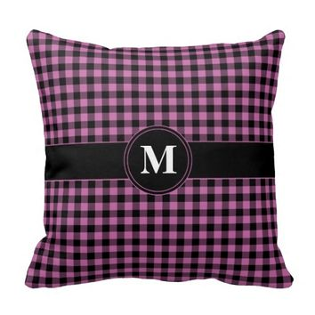 Monogram Pink and Black Gingham checked