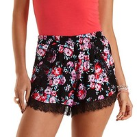 Lace-Trimmed Floral Print Shorts by Charlotte Russe - Black Combo