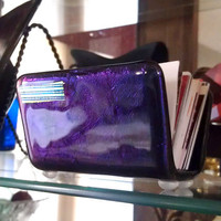 Office Business Card Holder in Purple & Teal  - Fused Glass