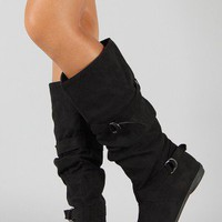 Bumper Whoa-01A Slouchy Round Toe Knee High Boot