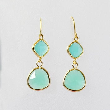 mint and gold earrings dangle earring sea foam green mint jewlelry