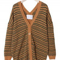 Aztec Knit  Loose Fit Mustard Cardigan  - Retro, Indie and Unique Fashion