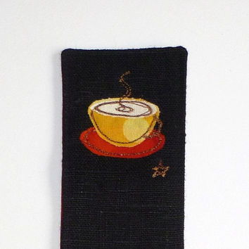 Coffee cup bookmark. Small gift for coffee lover. Quirky coffee cup design on black linen, red brown fabric back. Unique present for him.