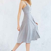 Oh My Love Button-Front Cut-Out Midi Dress- Grey